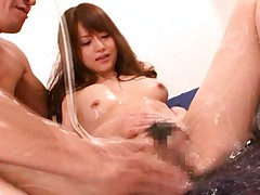 Akiho Yoshizawa gets tons of gelatine on body and is rubbed