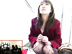 Moe Nishimura sits down and gets ready to suck his cock