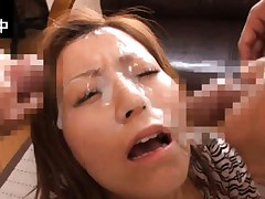 Chihiro Akino Asian gets lots of cum on face from two shlongs