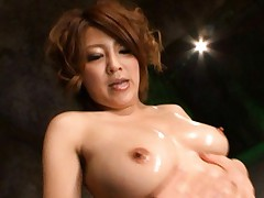 Riko Aoki Asian plays with big perfect boobs while sucking boobs