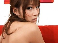 Kirara Asuka Asian shows sexy back and hot behind on red couch