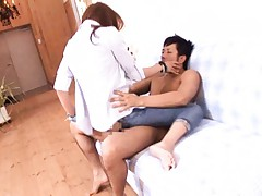 Kirara Asuka Asian rides dick through hole in her jeans and thong