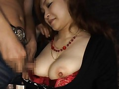 Arisa Kuroki Asian gets dongs between melons and in her mouth