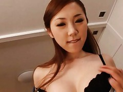 Asami Ogawa Asian is undressed of bra and shows cunt in scanty