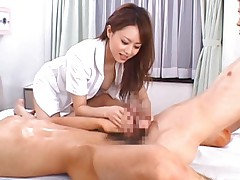 Akiho Yoshizawa strokes two patients dicks being a naughty nurse