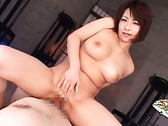 Japanese AV Model strokes tool and then puts it inside her pussy