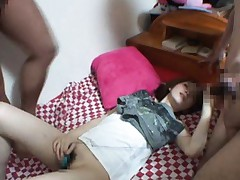 Rina Koizumi Asian with mini vibrator on cunt gets cum on blouse