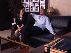 Sora Aoi Asian busty exposes white thong and tits to future boss
