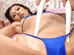 Noa Asian is touched with sticks on shaved slit over blue thong