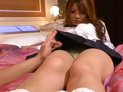 Risa Tsukino Asian in school uniform has legs kissed to the pussy