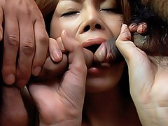 Horny Japanese chick deepthroats cocks and gets her pussy fucked hard