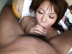 An Asian chick gives close up blowjob and gets a pussy pounding