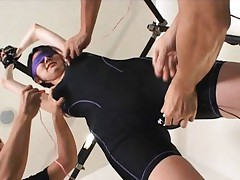 Sana Asian with tied hands gets lotion and vibrators on gym suit