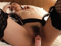 Kotone Amamiya in stockings has dildo stuck in slit and on jugs