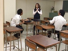 Shelly Fujii Asian gets hands in her white scanty in classroom