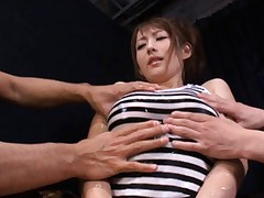 Reon Otowa Asian has jugs oiled and fondled on and under her top
