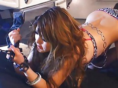 Risa Tsukino Asian sits with hot butt up in the air tied in chain