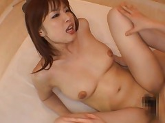 Risa Kasumi Asian sucking the cock that fucked her gets sperm