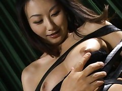 Rei Aoki Asian in black strips has beaver touched over thong