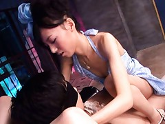 Aino Kishi Asian in blue dress rides phallus like bitch in jail