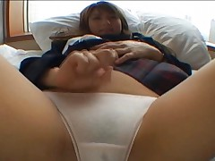 Risa Tsukino shows the wet spot of her white cotton panties