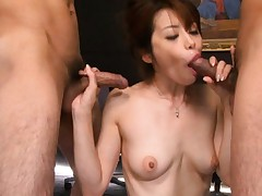 Maki Houjo Asian gets three dongs to suck one after the other