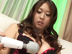 Risa Misaki Asian has vibrator on tits and down till her wet cunt