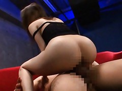 Miho Imamura Asian with round ass and fishnet blouse rides boner