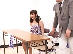 Yuma Asami nasty Asian with pigtails rubs cock in the classroom