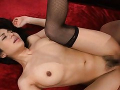 Sora Aoi Asian with big jugs and stockings gets sperm on face