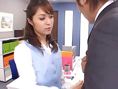 Mihiro Asian slutty licks the boss' nipples in his own office