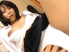 Japanese AV Model has shaved beaver rubbed under white scanty