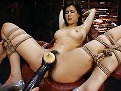 Naked Asian doll and her boyfriend are playing with new vibrators in her pussy