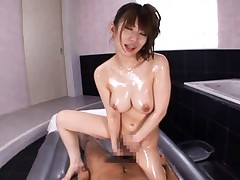 Miku Kohinata Asian busty strokes phallus of man in full bathtub