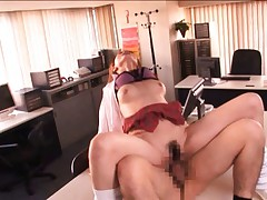 Akiho Yoshizawa screws stiffy on office and gets cum in mouth