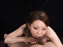 Reiko Yamaguchi Asian licks penis from balls to head on and on