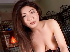 Asian slut in lingerie shows big tits while masturbating her shaved pussy