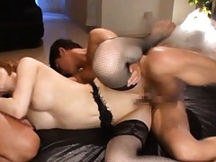Yuria Satomi Asian in black fishnet sucks tool while is drilled
