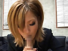Aika Asian doll in fishnet stockings gets sperm on her tongue