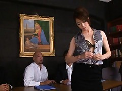 Maki Houjo Asian undresses at meeting and caressed by directors