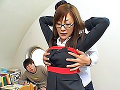 Asian secretary shows off her nice big tits and her tight round ass
