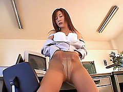 Asian secretary strips on her break and shows off her hot tits