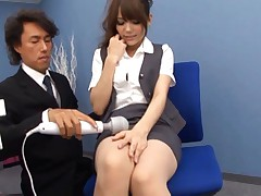 Rio Asian secretary is turned on by boss with vibrator on vagina