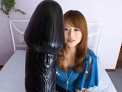 Akiho Yoshizawa teases nipples with mini vibrator and gets huge