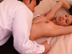 Sara Asian nymphet has juicy nipples rubbed between man lips