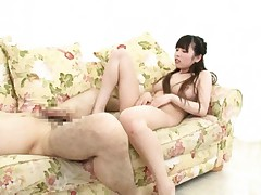 Rico Yamaguchi Asian rubs her clit while teasing cock with feet