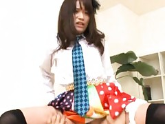 Japanese AV Model in colorful outfit rides dick and is fingered