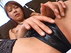 Sakurako Doll shows off her shaved pussy for a licking close up