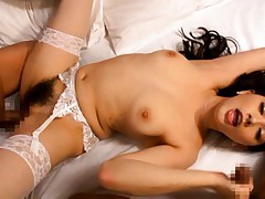 Saori Hara Asian busty gets one huge frigging in her hairy pussy