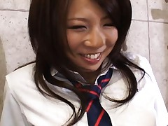 Konatsu Aozora in uniform is touched over thong by her teacher